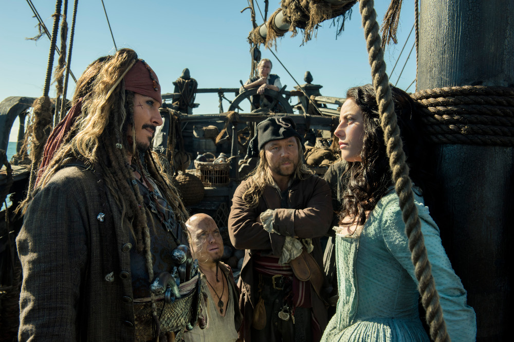 """PIRATES OF THE CARIBBEAN: DEAD MEN TELL NO TALES"" The villainous Captain Salazar (Javier Bardem) pursues Jack Sparrow (Johnny Depp) as he searches for the trident used by Poseidon Ph: Peter Mountain © Disney Enterprises, Inc. All Rights Reserved."