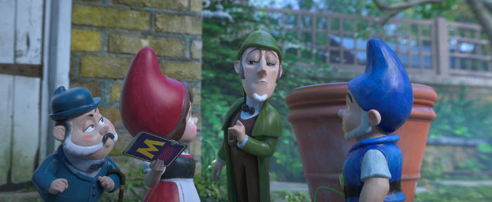 "SHERLOCK GNOMES (Johnny Depp), DR. WATSON (Chiwetel Ejiofor), JULIET (Emily Blunt) and GNOMEO (James McAvoy) in ""Sherlock Gnomes"" from Paramount Pictures and MGM."