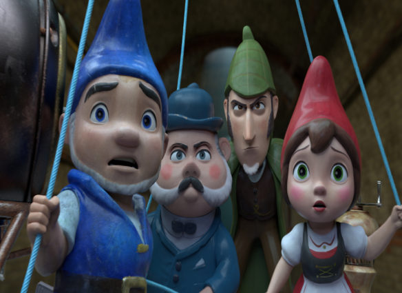 """GNOMEO (James McAvoy), DR. WATSON (Chiwetel Ejiofor), SHERLOCK (Johnny Depp) and JULIET (Emily Blunt) and in """"Sherlock Gnomes"""" from Paramount Pictures and MGM."""