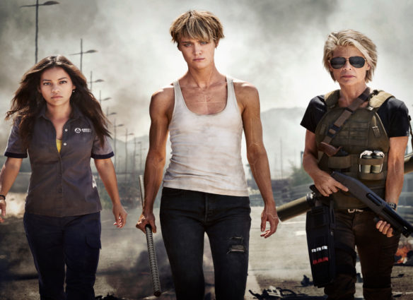 "Official First Look at the Women of the New TERMINATOR (from left to right) Natalia Reyes as ""Dani Ramos,"" Mackenzie Davis as ""Grace,"" Linda Hamilton as ""Sarah Connor"""